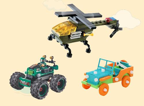 Đồ chơi lắp ráp máy bay hay ô tô địa hình, xe jeep phù hợp cho bé trai. Mua sản phẩmtại đây.