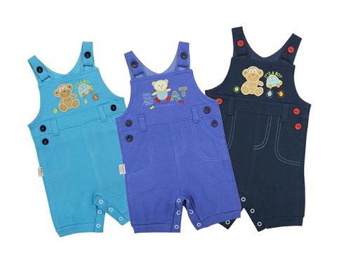 Quần yếm bé trai BabyOne LQ0925 gồm 3màu: xanh đen, xanh biển và xanh dương, giá 137.000 đồng.