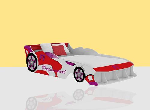 Giường trẻ em ôtô F1 (1m2) - đỏ