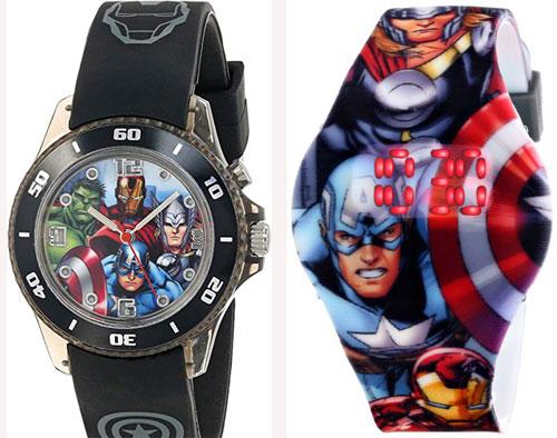 Đồng hồ trẻ em: Những chiếc đồng hồ in hình các siêu anh hùng sẽ là món quà thú vị dành chobé trai haybé gái có cátính mạnh. Cha mẹ có thể chọn mặt đồng hồ có kim và số giờ hoặc màn hình kỹ thuật số.Sản phẩmcó giá từ 400.000 đồng đến hơn 500.000 đồng.