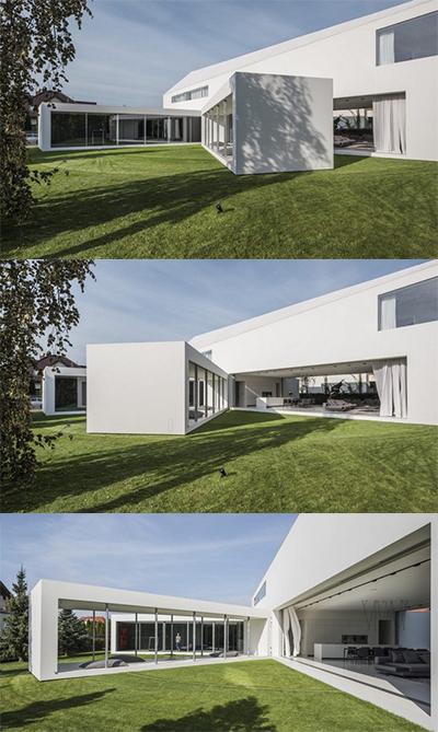 Quadrant Home có kiến trúc nhà hình chữ L. Phần thân nhà nằm giữa có thể di chuyển tự động từ phòng spa sang phòng khách. Ảnh: Engineering News.