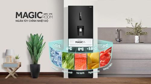 Ngăn Magic Room có thể được điều chỉnh nhiệt độ theo nhiều mức khác nhau đểlàm đá, trữ lạnh, đông mềm...