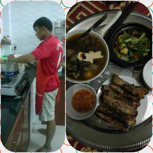 Chồng tôi là một người rất tháo vát và thích nấu ăn.