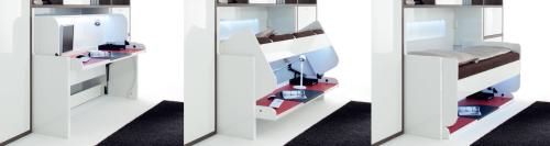 Phụ kiện giường xếp Tavoletto từ Häfele dễ dàng chuyển đổi giường ngủ thành bàn làm việc khi cần