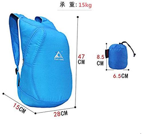 Ba lô thuộc thương hiệuUniqueMallsở hữutrọng lượng siêu nhẹ, chỉ 75 gram nhưng có khả năng chứa tới 15 kg hành lý. Kích thước của sản phẩm là 47 x 28 x 15 cm và được làm loại vải chống thấm nước đặc biệt. Sau khi sử dụng, bạn dễ dàng cất gọn vào chiếc túi kích thước 8,5 x 6,5 cm. Sản phẩm có giá 424.000 đồng.