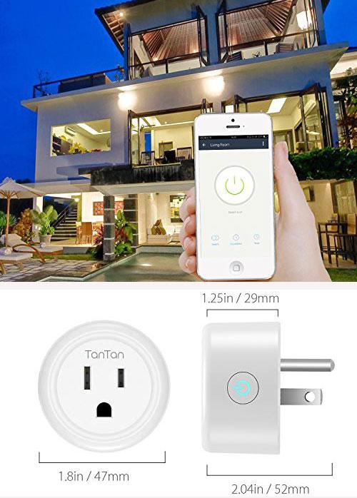 Ổ cắm điện tích hợp Wi-Fi: Chiếc ổ cắm hình tròn có kích thước nhỏ gọn, hỗ trợ điều khiển từ xa mà không cần dùng công tắc On - Off nhờ tích hợp Wi-Fi. Sản phẩm tương thích với hệ điều hành Android 4.4 hoặc IOS 8 trở lên. Ngoài ra, các sản phẩm ổ cắm thông minh này còn có chức hẹn giờ, lên lịch, giúp bạn đặt giờ để bật - tắt thiết bị như điều hòa, quạt máy... Sản phẩm giá khoảng hơn 200.000 - 300.000 đồng, tùy từng loại.