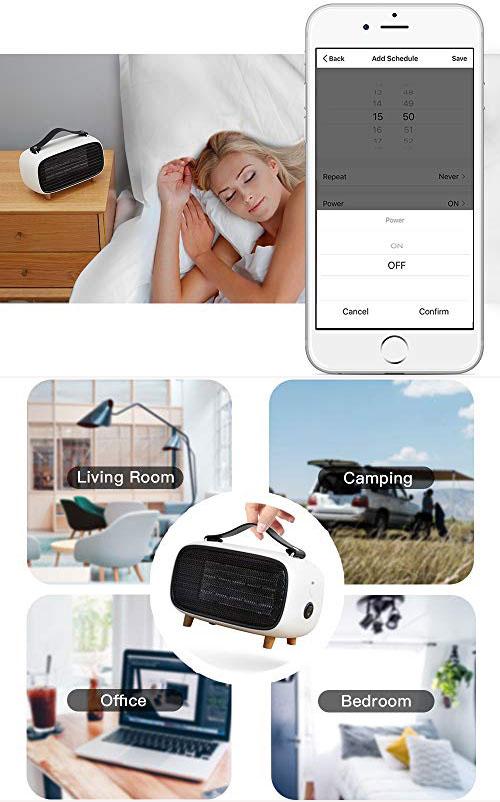 Quạt sưởi di động: Với kích thước 24,89 x 19,05 x 13,97 cm, trọng lượng chỉ 1,05 kg và có quai xách, bạn có thể mang chiếc quạt sưởi nhỏ gọn, hiện đại này tới bất cứ đâu như văn phòng, đi cắm trại, du lịch... để giữ ấm khi thời tiết trở lạnh. Đặc biệt, quạt sưởi thông minh này có kết nối Wi-Fi, cho phép người dùng điều khiển từ xa bằng điện thoại, máy tính bảng. Ngoài ra, bạn có thể thiết lập thời gian sưởi để tiết kiệm năng lượng. Sản phẩm giá 1,56 triệu đồng.