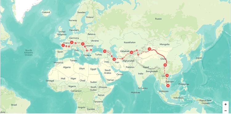Hành trình đạp xe của vợ chồng Khánh Nguyên-Thibault dài hơn 16.00km từ Pháp về Việt Nam. Ảnh: NVCC.