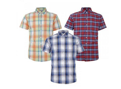 Bộ 3 áo sơ mi ngắn tay sọc caro thời trang SMC368