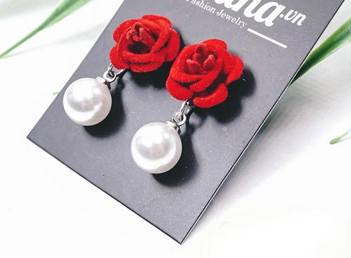 Bông tai hoa vải đính đá - Tatiana - BH2493R