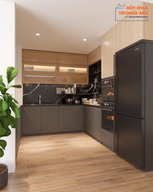 Gian bếp sau khi được thiết kế mang nét sang trọng, thanh lịch và ấm áp hơn.