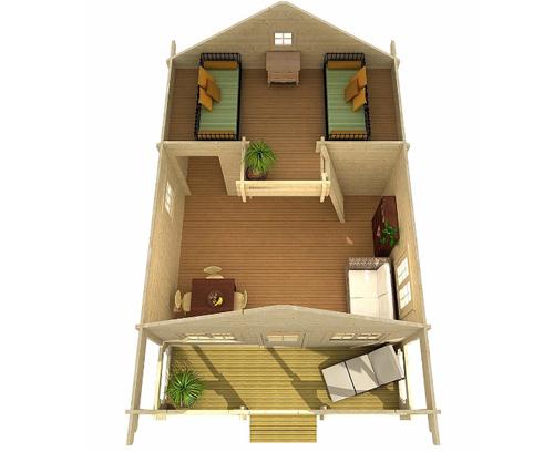Tùy vào lựa chọn, khách có thể chọn nhà ghép một phòng ngủ, hoặc hai, hoặc có cả gác xép.