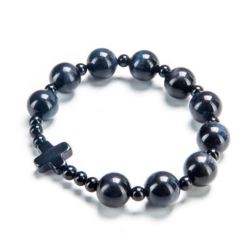 Vòng chuỗi mân côi đá mắt hổ xanh 10mm mix thánh giá mã não đen TIGG01 - VietGemstones