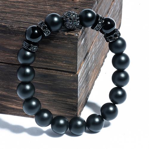 Vòng tay đá Obsidian 08mm mix charm bạc BRBO08M03 - VietGemstones