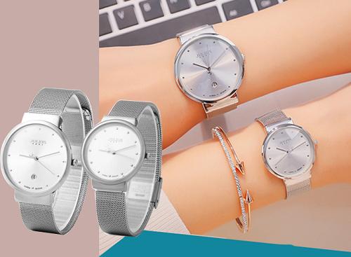 Đồng hồ cặp Julius JA426 dây thép bạc mặt trắng