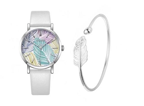 Phối đồng hồ Julius JA-1090A dây da trắng cùngVòng tay dáng kiềng dreamcatcher - Tatiana - VB2292