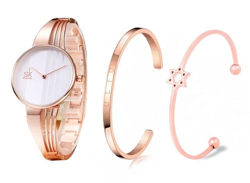 đồng hồ nữ chính hãng Shengke Korea K0062L-02  cùng Vòng tay ngôi sao Julius JS0 (3 màu tùy chọn) - Hồng nhạtVòng tay Julius trẻ trung JSB078 2 màu