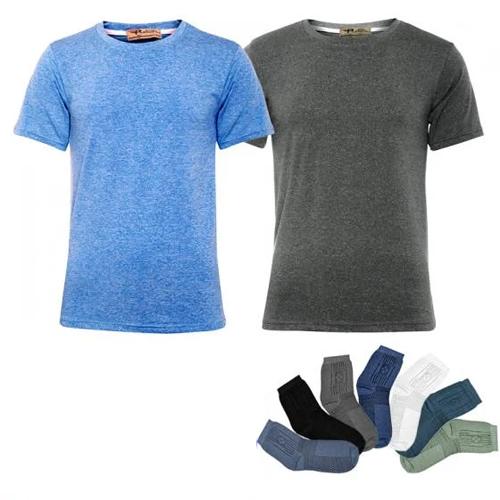 Combo 2 áo thun nam cổ tròn tập GYM thể thao Pigofashion GM02 tặng đôi vớ- màu ngẫu nhiên