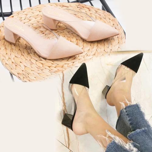 Giày nữ, giày mules phối mica trong suốt Erosska đế vuông cao 5cm - EM021 (BR)