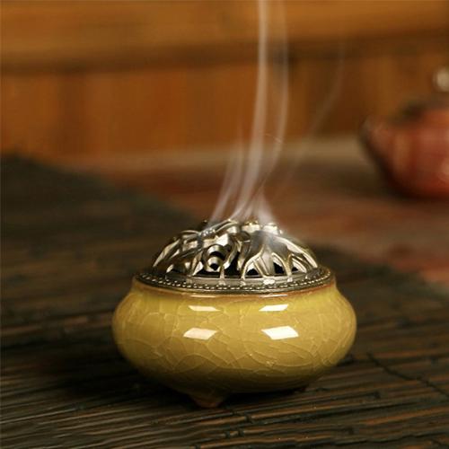 Lư xông trầm hương vàng nắp đồng