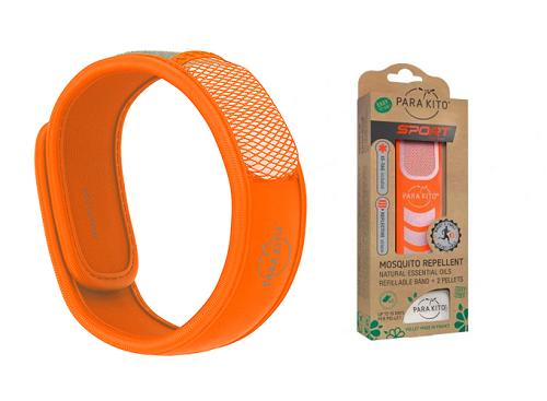 Viên chống muỗi PARA'KITO kèm vòng đeo tay bằng vải màu cam (2 viên chống muỗi)