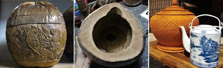 Vỏ dừa sau khi chế tác sẽ được đựng ấm tích như với các loại bình ủ truyền thống. Nếugiữ vỏ bình khô ráo không bị ẩm thì có thể xài hoài không hư, ông Điểm nói.Ảnh: Diệp Phan.