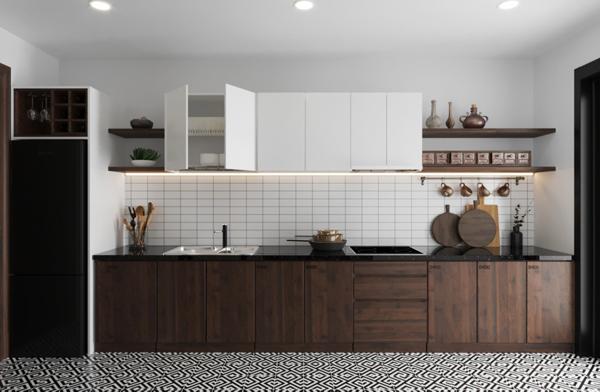 Mẫu tủ bếp chữ I lấy cảm hứng từ Industrial style được thiết kế nằm gọn gàng trong một mặt tường của Studio tại Botanica Premier.