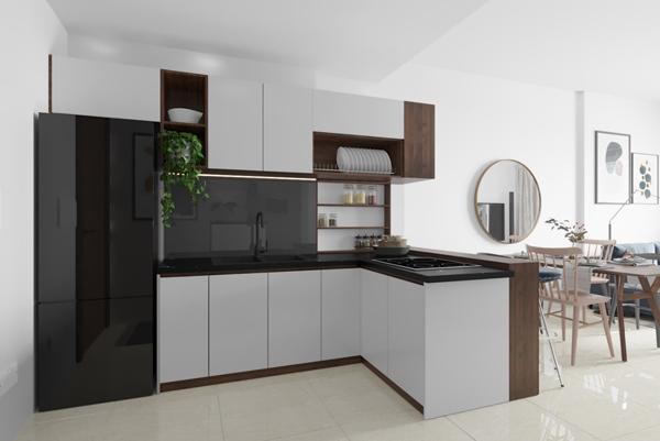 Mẫu tủ bếp nhỏ gọn nhưng đầy đủ tiện nghi nhờ được bố trí hợp lý với việc tân dụng khoảng không gian giữa phòng khách và bếp cho công năng vùng nấu