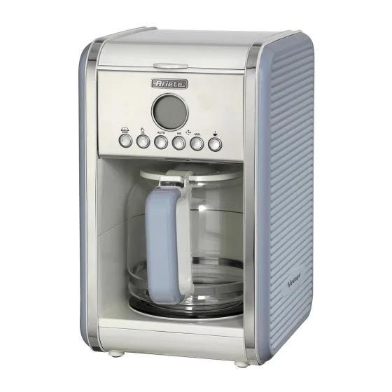Máy pha cà phê tự động hiệu Ariete có khả năng pha từ 4 đến 12 ly cà phê trong một lần. Chức năng hẹn giờ giúp giữ ấm thức uống, tiết kiệm điện nặng. Ngoài ra, thiết kế kính cường lực giữ nhiệt, phần đế giữ nóng an toàn. Sản phẩm có giá 1,729 triệu đồng, giảm 35% trên Shop VnExpress.
