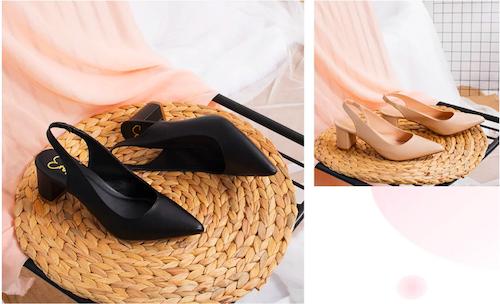 Giày nữ, giày cao gót slingback erosska thời trang nữ kiểu dáng basic, mũi tròn, nhọn, quai đeo ngang vừa vặn, gót vuông, miếng đệm lót chân.