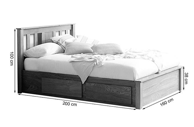 Kích thước giường ngăn kéo Wimblendon gỗ sồi.