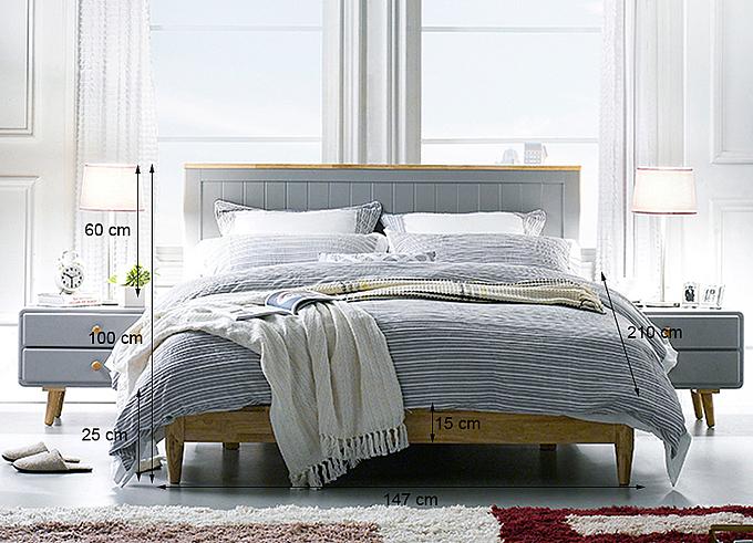 Cấu trúc giường đôi Rora - Grey.