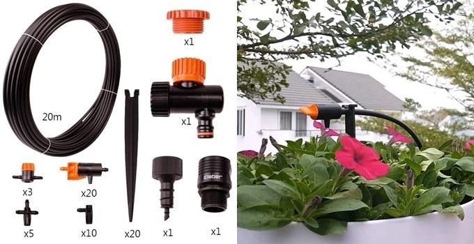 Sản phẩm gồm 20 đầu tưới, dây dẫn nước và phụ kiện Claber... tạo nên hệ thống tưới nhỏ giọt cho khu vườn mini. Thiết bị sản xuất tại Italy, sử dụng chất liệu cao cấp, an toàn với người dùng và dễ dàng lắp đặt.