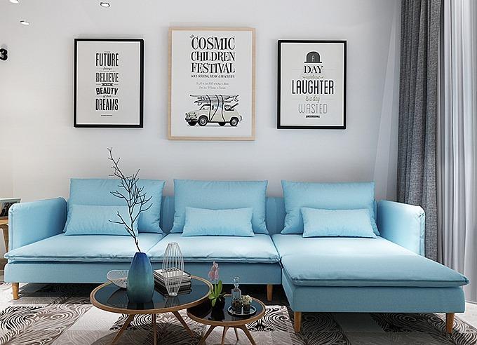 Ghế sofa xanh nhạt công nghệ châu Âu tương thích với những mảng tường trắng. Sofa K800 kích thước gọn, nệm ghế ngồi có thể tháo rời. Áo gối và áo bọc nệm tháo ra giặt được nên tiện lợi cho việc vệ sinh. Sản phẩm đang giảm 11% trên Shop VnExpress, còn 16,9 triệu (giá gốc 18.988.764 đồng).