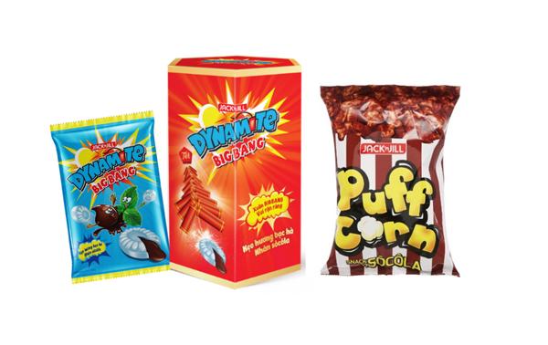 kẹo Dynamite Big Bang là cùng Snack bắp Puff Corn