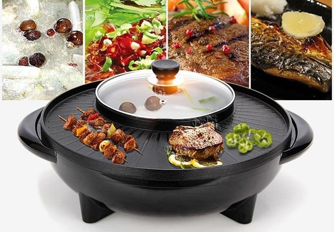 Bếp lẩu nướng Hàn Quốc hai trong một có thể nướng và nấu lẩu cùng lúc. Phần nướng có thiết kế rộng rãi, nướng được nhiều loại thức ăn cùng lúc. Nút điều chỉnh nhiệt giúp thao tác dễ dàng hơn. Sản phẩm giảm 39% trên Shop VnExpress, còn 550.000 đồng (giá gốc 900.000 đồng).