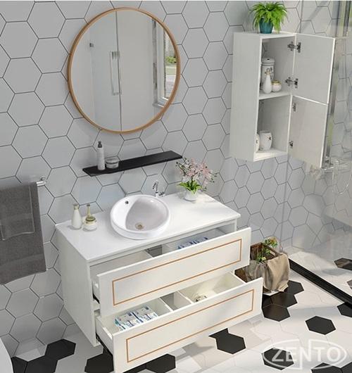 Bộ sản phẩm nhà tắm Lavabo ZT-LV894 có thiết kế đơn giản nhưng đẹp mắt, gồm: chậu lavabo, tủ, mặt đá, gương, kệ gương, tủ treo tường (không kèm theo vòi chậu, xi phông hay ống xả).  Gia chủ có thể sắp đặt đồ đạc gọn gàng, tạo không gian phòng tắm tinh tế hơn. Sản phẩm giảm 16% trên Shop VnExpress, còn 5,45 triệu đồng (giá gốc 6,5 triệu).