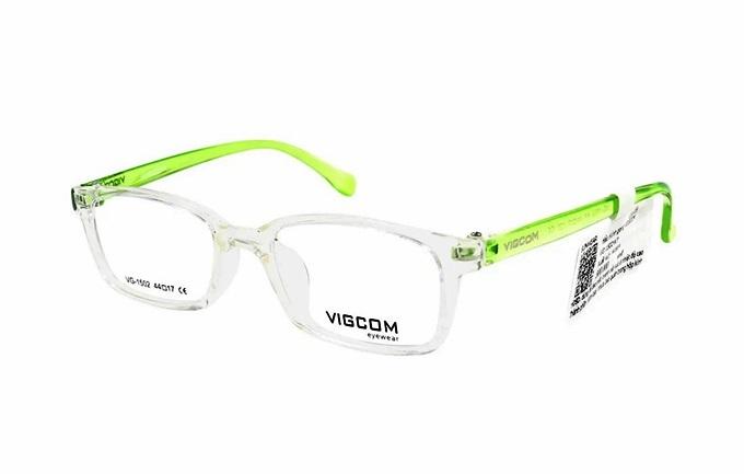 Kính Vigcom VG1502 K7 thu hút nhiều tín đồ thời trang, bán chạy trên Shop VnExpress nhờ phối màu sành điệu: tông xanh lá của gọng kính và viền, tròng trắng đục. Sản phẩm được làm từ hợp kim Titanium và nhựa bền chắc, nhẹ, chống biến dạng hay trầy xước khi va đập. Sản phẩm đang giảm 20%, còn 240.000 đồng (giá gốc 300.000 đồng).