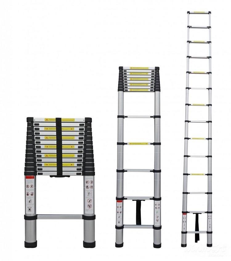 Thang nhôm rút Ameca AMD-380 có chiều cao tối đa là 3,8 m, gồm 13 bậc thang. Chiều dài khi rút gọn chỉ còn 88 cm, tiết kiệm không gian nhà ở, dễ dàng cất giữ. Sản phẩm  là loại thang nhôm tiện dụng, sản xuất theo tiêu chuẩn công nghệ của Mỹ. Chân thang có gắn cao su chống trượt, thuận tiện và an toàn khi sử dụng. Các chốt khóa tự động chắc chắn, bề mặt thang phủ lớp chống gỉ sét. Sản phẩm có giá ưu đãi đến 40% trên Shop VnExpress, giảm còn 1,375 triệu đồng (giá gốc 2,29 triệu đồng).
