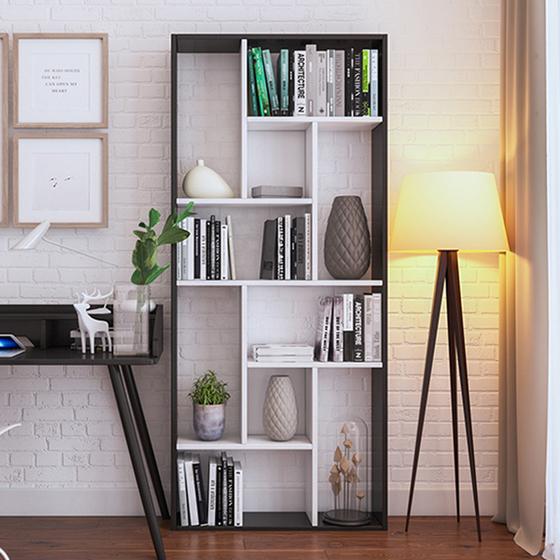 Kệ sách đa năng để sàn của IGEA được làm từ gỗ MDF phủ melamin chống xước, chống nước, sơn hai màu trắng - đen, bề mặt sáng bóng. Kệ có kích thước dài 74 cm, sâu 20 cm, cao1,5 m,làm đẹp cho không gian phòng đọc sách, phòng học, phòng làm việc, phòng kháchcủa bạn. Kệ có thể làm giá sách,kết hợp làm kệ để đồ, kệ trưng sản phẩm, kệ trang trí cửa hàng... Sản pẩm đang được bán với giá669.000đồng