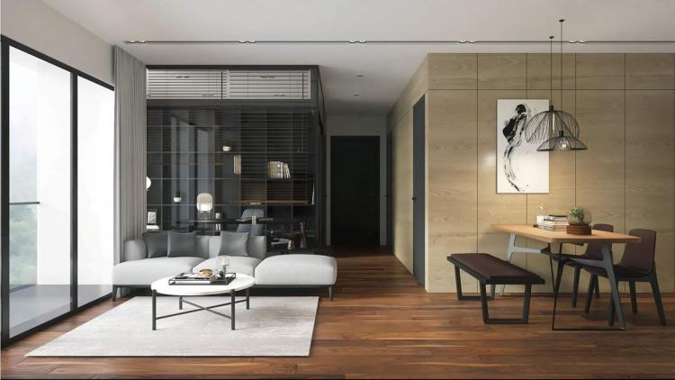 Mẫu nội thất hiện đại tối giản cho khách hàng ở Vinhome Smart.