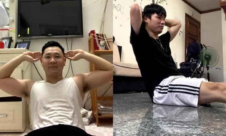 Anh La Quang Duy (bên trái) đang thực hiện thử thách tập gym cùng nhóm bạn. Ảnh: Quang Duy.