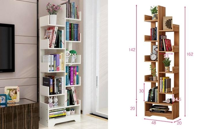 Kệ sách 11 tầng là một trong những sản phẩm bán chạy trên Shop VnExpress thời gian qua. Sản phẩm làm từ gỗ MDF phủ melamin cao cấp, chống xước, nước và bề mặt sáng bóng. Kích thước kệ sâu 20 cm, cao 162 cm và rộng 48 cm. Người dùng có thể dùng làm giá sách tại văn phòng, ở nhà hay trang trí cửa hàng, vừa dễ di chuyển, vừa tiết kiệm diện tích phòng. Sản phẩm giảm 34%, còn 650.000 đồng(979.000 đồng) .