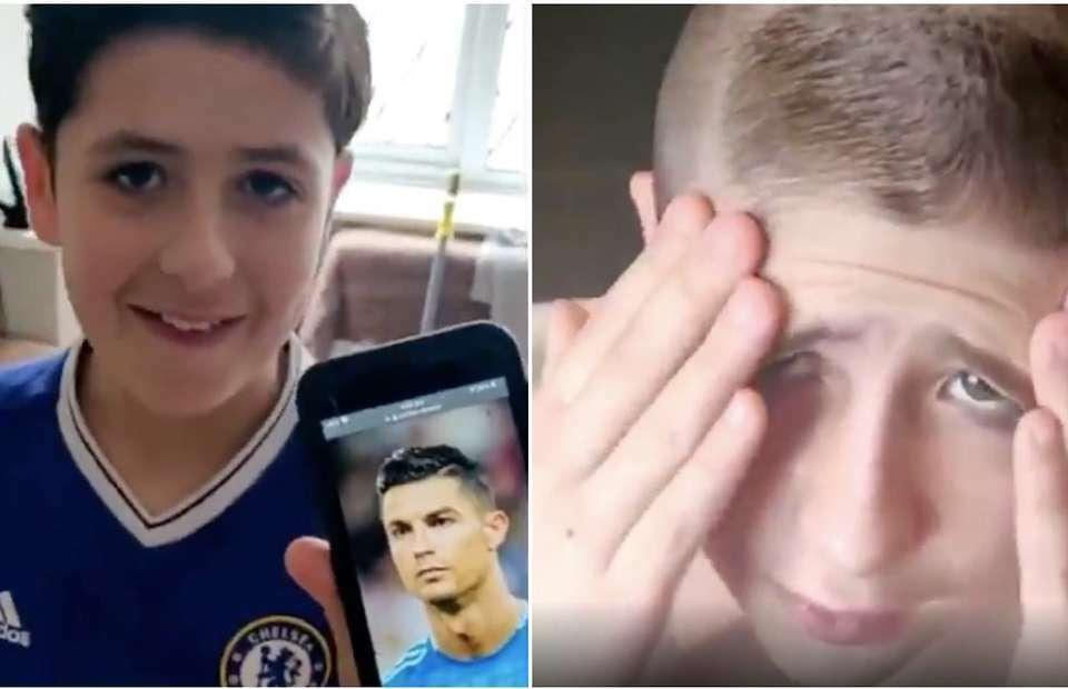 Fan nhí muốn mái tóc giốngCristiano Ronaldo, nhưng bị bố cắt thành kiểu đầu của Ronaldo béo. Ảnh: The sun.