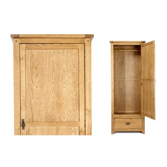 Tủ quần áo IBIE Rustic một cánh gỗ sồi 80 cm giảm13.060.000đ 8.490.000đ (-35%)Chất liệu gỗ sồi trắng Mỹ nhập khẩu.- Thiết kế theo phong cách Châu Âu sang trọng.- Gia công tỉ mỉ, trau chuốt từng chi tiết.- Chất lượng theo tiêu chuẩn xuất khẩu.- Nhận đặt kích thước theo yêu cầu. Giới thiệu tủ quần áo Rustic 1 cánh gỗ sồi 80 cmPhù hợp với phòng nghỉ dành cho khách hay phụ thêm cho những chiếc tủ chính khi bị quá tải, chiếc tủ áo 1 cánh này không chỉ giúp tiết kiệm diện tích mà còn đủ chỗ để treo rất nhiều quần áo đằng sau cánh tủ với tay nắm đồng thau giả cổ xinh xắn. Ngăn kéo bên dưới có thể để đồ gấp gọn hoặc các vật dụng khác. Thuộc bộ sưu tập Rustic đặc trưng bởi nóc dầy và khung chân chắc khỏe, tủ được làm từ gỗ sồi trắng Mỹ lâu năm có khả năng kháng sâu mọt cao và chế tác hoàn toàn thủ công bởi những người thợ lành nghề. Vân gỗ dạng đồng tâm và mưa rơi của những cây gỗ lâu năm được sơn PU cao cấp, tạo nên sự độc đáo cho mỗi sản phẩm, góp phần làm cho không gian nội thất thêm quyến rũ. Sản phẩm giảm giá 35% còn 8,49 triệu đồng (giá gốc 13,06 triệu đồng).