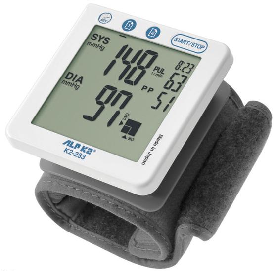 Máy đo huyết áp điện tử cổ tay cao cấp k2-233- Nhật Bản 1.290.000đ 1.090.000đ (-16%)  là chiếc máy đo huyết áp cổ tay tự động có thiết kế siêu nhỏ gọn và cơ động, thuận tiện cho việc theo dõi sức khoẻ hằng ngày hoặc thường xuyên mang theo bên mình. Máy đo huyết áp cổ tay ALPK2 K2-233 sử dụng công nghệ tiên tiến của Nhật Bản được Châu Âu và Mỹ khuyên dùng, máy nhanh chóng kiểm tra và đưa kết quả huyết áp tâm thu, huyết áp tâm trương và nhịp tim một cách chính xác nhất. Hãy để ALPK2 K2-233 cùng bạn chăm sóc sức khoẻ cho các thành viên thân yêu trong gia đình.  Hoạt động thông minh cho kết quả chính xác ALPK2 K2-233 có thiết kế thông thông minh, dễ sử dụng, có chỉ dẫn quấn vòng bít đúng, phát hiện rối loạn nhịp tim, báo cử động người trong khi đo, giúp kết quả được chính xác hơn.  Đáp ứng tối đa nhu cầu của người sử dụng Bộ nhớ lưu đến 60 kết quả kèm thời gian ngày/ giờ cho 2 người đo tiện lợi cho việc theo dõi và xem lại kết quả, cho phép bạn so sánh các lần đo khác nhau để biết được tình hình huyết áp của mình và có những điều chỉnh kịp thời trong chế độ ăn uống, tập luyện và nghỉ ngơi.