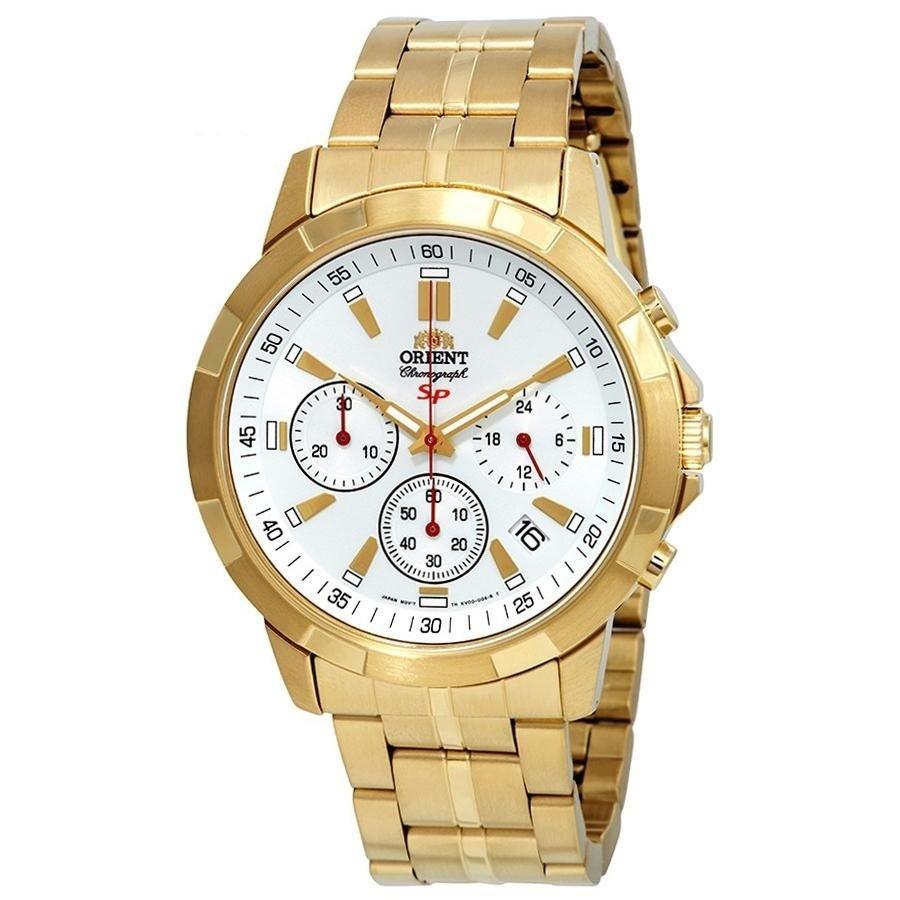 Đồng hồ nam chronograph Orient FKV00002W0 có thiết kế sang trọng với phần vỏ máy và dây đeo bằng thép không gỉ mạ vàng sáng bóng. Dòng đồng hồ chronograph nổi tiếng với chức năng bấm giờ bằng hai nút bấm bên hông. Sản phẩm hiện có giá ưu đãi đến 50% trên Shop VnExpress, giảm còn 3,44 triệu đồng (giá gốc 6,88 triệu đồng).