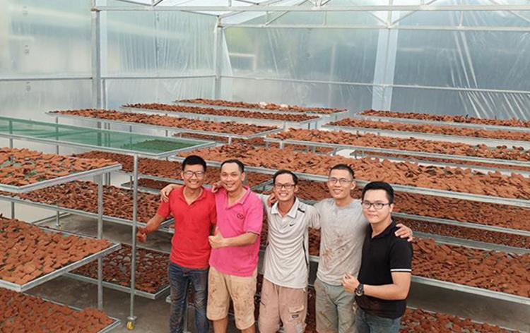 Anh Võ (ngoài cùng bên trái), đối tác và 3 cộng sự Nguyễn Hoàng Lâm, Trần Duy Khánh, Nguyễn Phát Lộc. Ngoài cung cấp nấm tươi cho các siêu thị, công ty của Võ cũng đang làm các sản phẩm chế biến từ nấm. Ảnh: Nhân vật cung cấp.