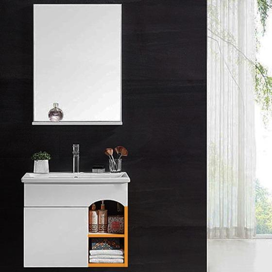 Bộ tủ, chậu, kệ gương Lavabo Zento ZT-LV962 có kích thước nhỏ gọn, kiểu dáng đơn giản, hiện đại thích hợp với phòng tắm diện tích nhỏ.Bộ sản phẩm gồm chậu rửa, tủ, gương và kệ gương. Thiết kế ngăn tủ có cửa đóng kín đáo,giúp cất giữ vật dụng trong phòng tắm gọn gàng, ngăn nắp, hạn chế nước bắn vào gây hư hại. Sản pahảm có giá 3,5 triệu đồng, giảm 33% so với giá gốc.