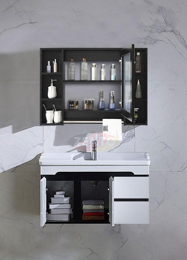 Bộ tủ, chậu, kệ gương Lavabo Black & White ZT-LV882F đang có giá ưu đãi 31% trên Shop VnExpress, giảm còn 5,15 triệu đồng. Chậu rửa làm bằng sứ với lớp men chống bám bẩn, trầy xước, không bị ố vàng sau thời gian dài sử dụng.Kệ gương kết hợp thanh vắt khăn, tủ đựng đồ, giữ vật dụng khô ráo, sạch sẽ.Tủ và kệ gương làm từ nhựa PVC, khả năng chịu nước tốt, chống mối mọt, cong vênh.